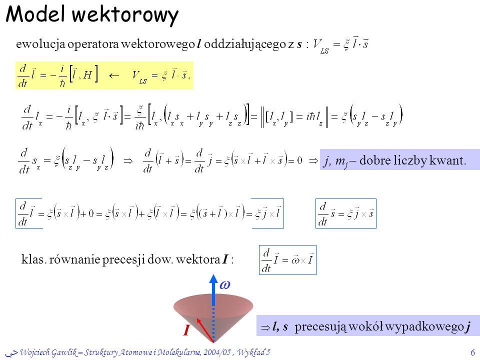ﴀ Wojciech Gawlik – Struktury Atomowe i Molekularne, 2004/05, Wykład 56 Model wektorowy ewolucja operatora wektorowego l oddziałującego z s :   j, m