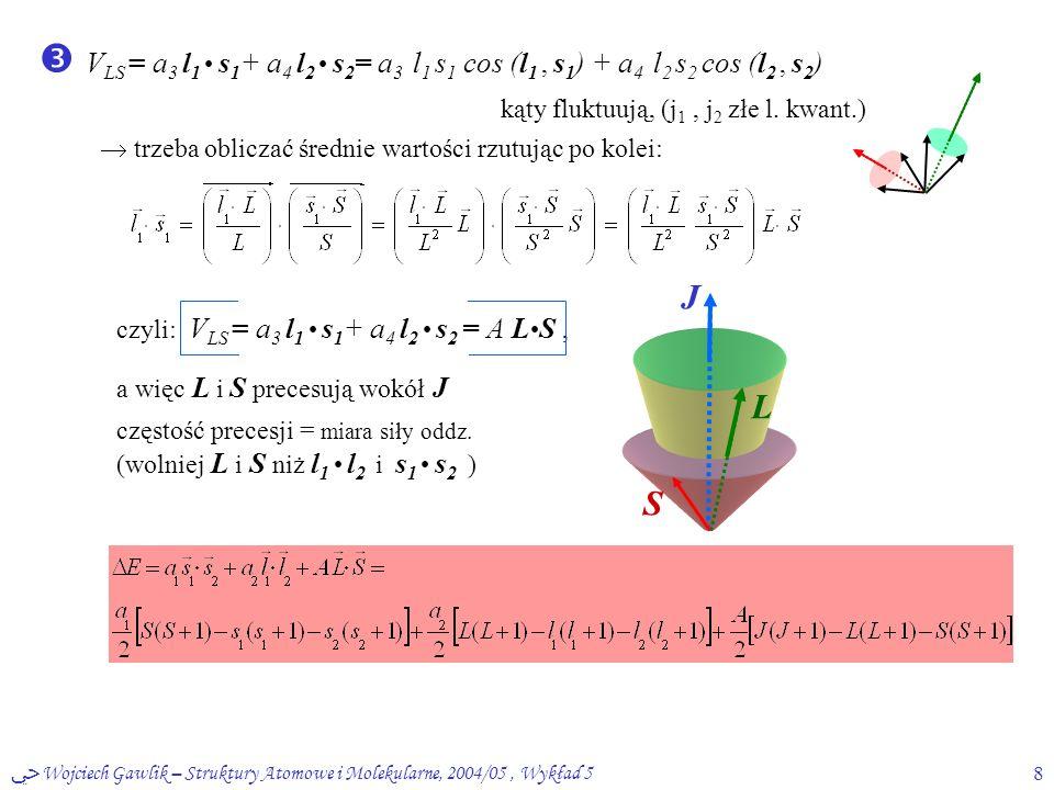 ﴀ Wojciech Gawlik – Struktury Atomowe i Molekularne, 2004/05, Wykład 58  V LS = a 3 l 1 s 1 + a 4 l 2 s 2 = a 3 l 1 s 1 cos (l 1, s 1 ) + a 4 l 2 s 2