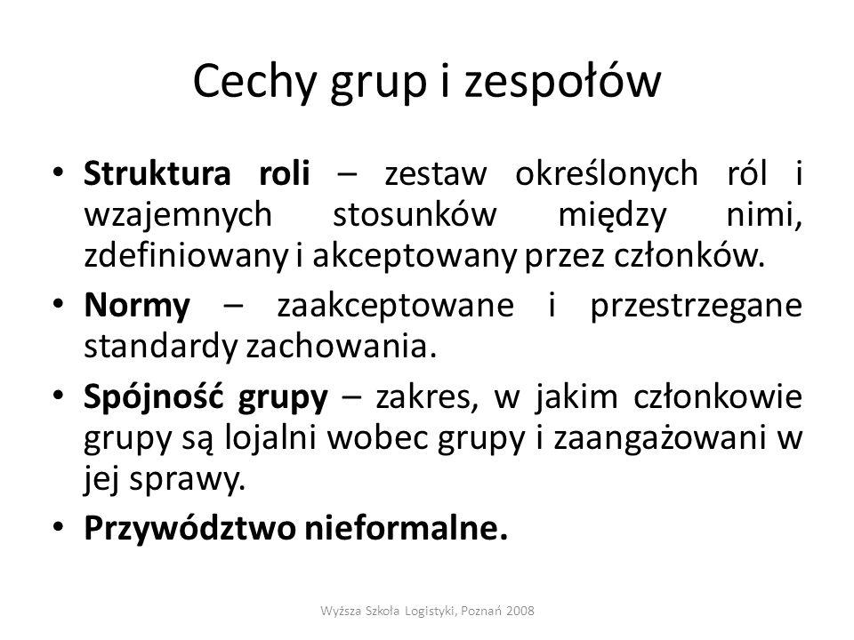 Cechy grup i zespołów Struktura roli – zestaw określonych ról i wzajemnych stosunków między nimi, zdefiniowany i akceptowany przez członków. Normy – z