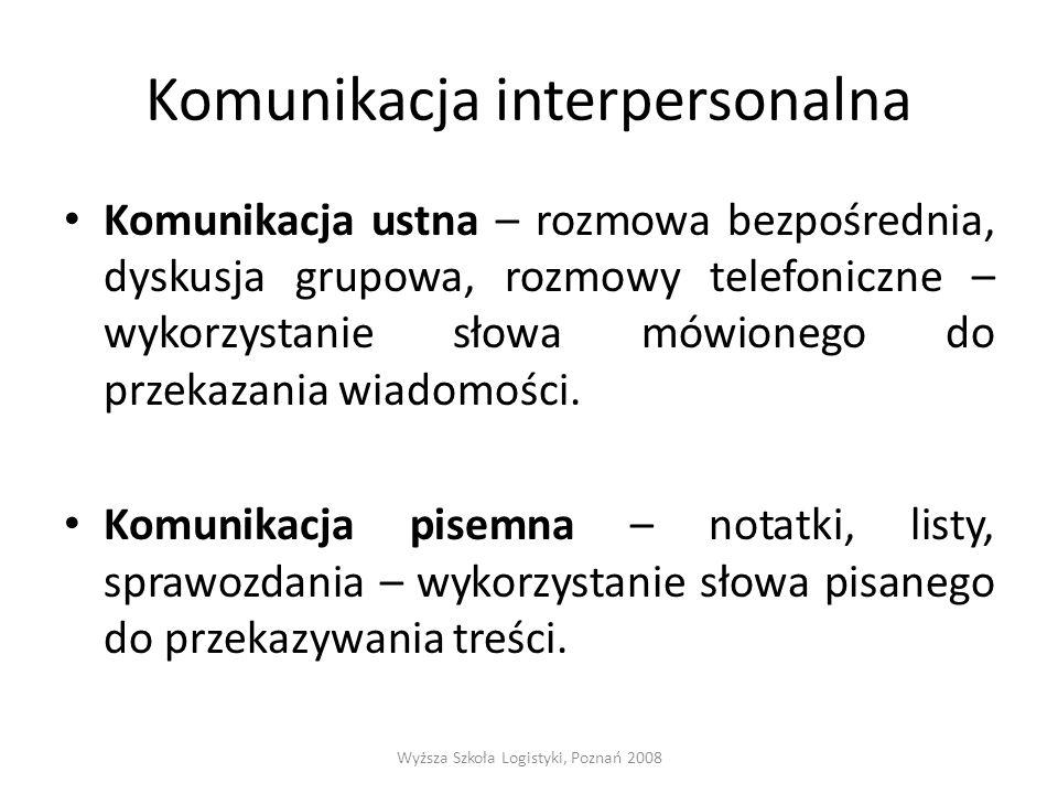Komunikacja interpersonalna Komunikacja ustna – rozmowa bezpośrednia, dyskusja grupowa, rozmowy telefoniczne – wykorzystanie słowa mówionego do przeka