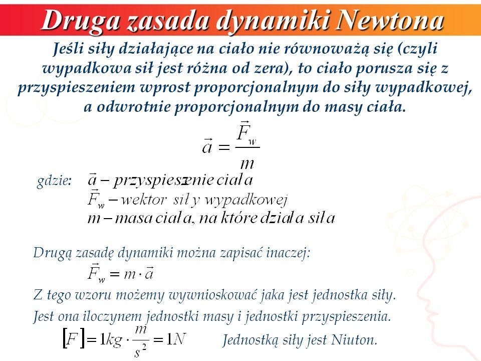 Druga zasada dynamiki Newtona gdzie : Jeśli siły działające na ciało nie równoważą się (czyli wypadkowa sił jest różna od zera), to ciało porusza się