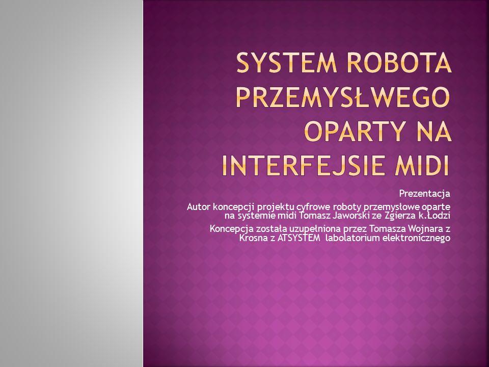 Prezentacja Autor koncepcji projektu cyfrowe roboty przemysłowe oparte na systemie midi Tomasz Jaworski ze Zgierza k.Łodzi Koncepcja została uzupełnio