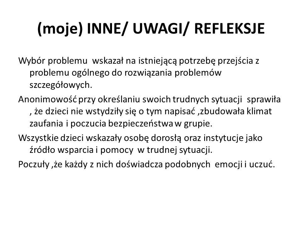 (moje) INNE/ UWAGI/ REFLEKSJE Wybór problemu wskazał na istniejącą potrzebę przejścia z problemu ogólnego do rozwiązania problemów szczegółowych.