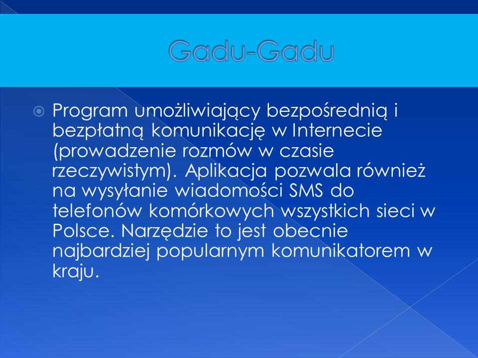  Program umożliwiający bezpośrednią i bezpłatną komunikację w Internecie (prowadzenie rozmów w czasie rzeczywistym).