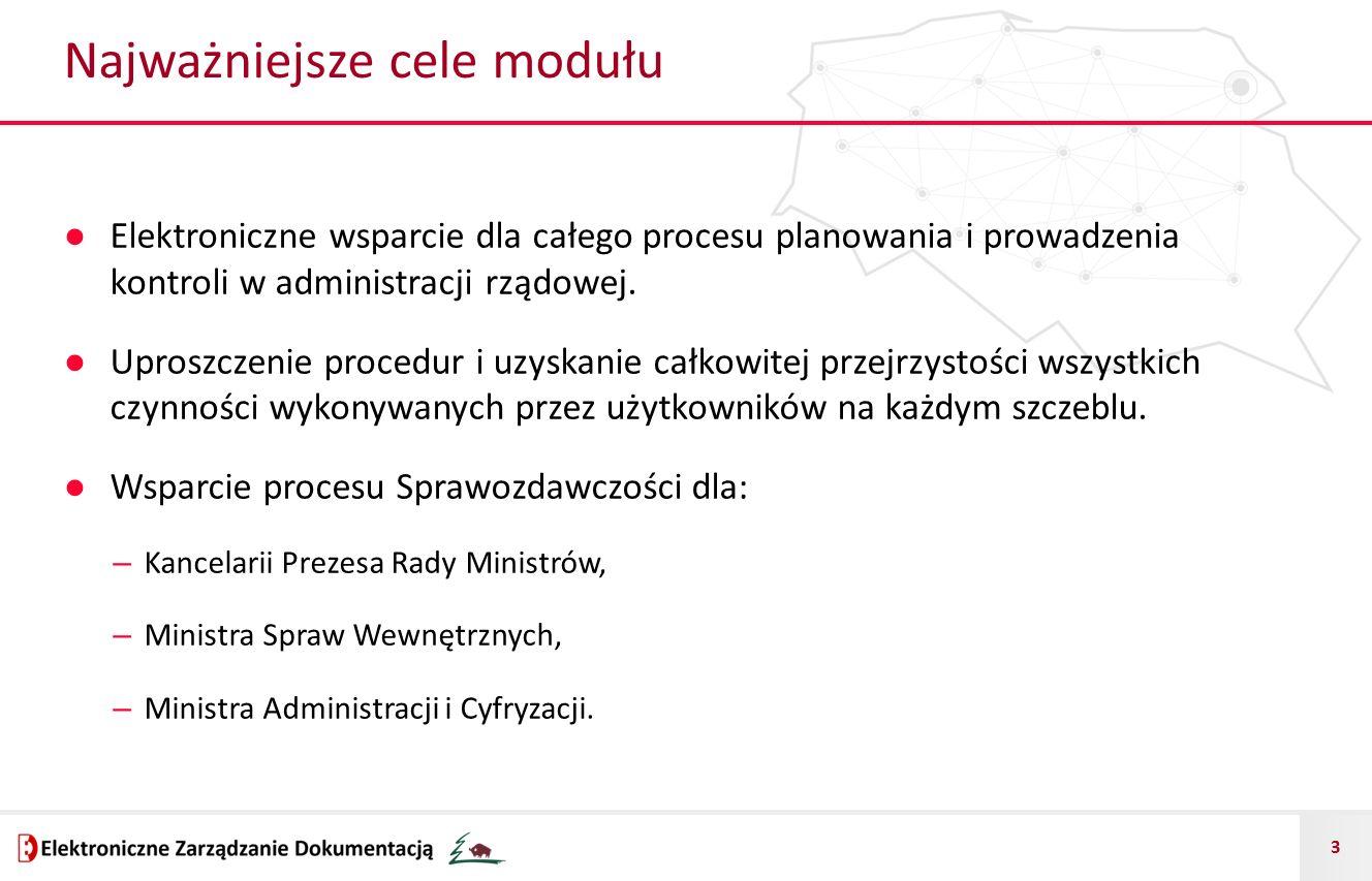 3 Najważniejsze cele modułu ● Elektroniczne wsparcie dla całego procesu planowania i prowadzenia kontroli w administracji rządowej.