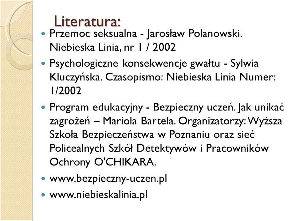 Literatura: Przemoc seksualna - Jarosław Polanowski. Niebieska Linia, nr 1 / 2002 Psychologiczne konsekwencje gwałtu - Sylwia Kluczyńska. Czasopismo: