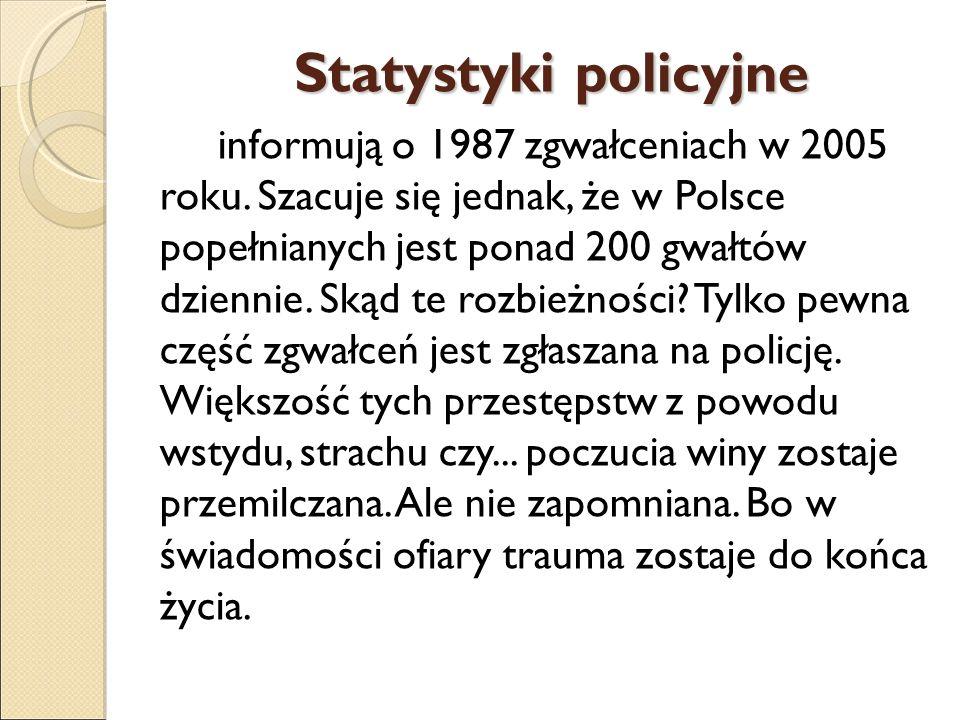 Statystyki policyjne informują o 1987 zgwałceniach w 2005 roku. Szacuje się jednak, że w Polsce popełnianych jest ponad 200 gwałtów dziennie. Skąd te