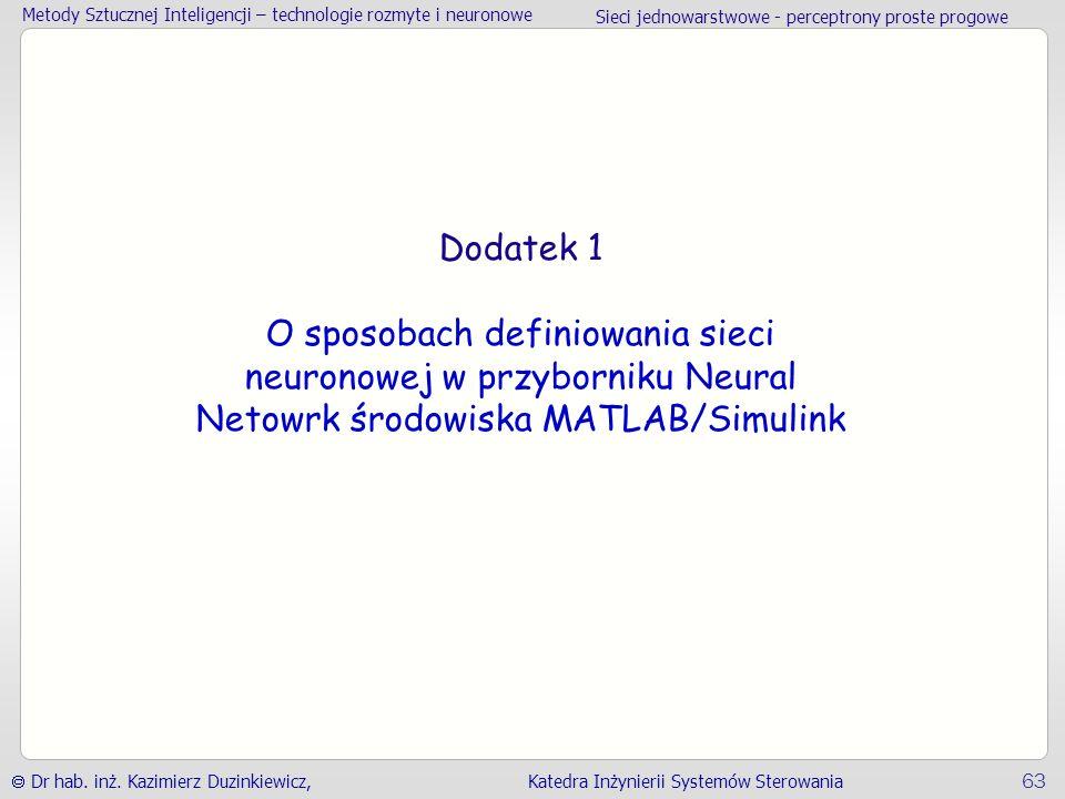 Metody Sztucznej Inteligencji – technologie rozmyte i neuronowe Sieci jednowarstwowe - perceptrony proste progowe  Dr hab.