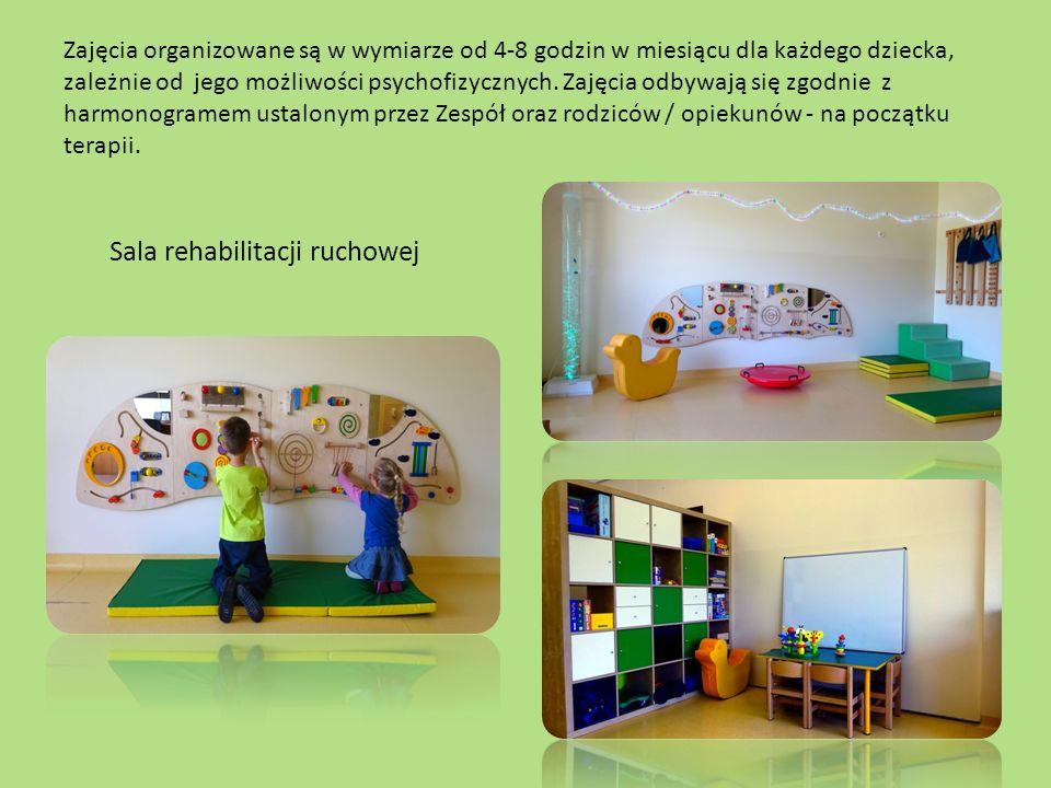 Zajęcia organizowane są w wymiarze od 4-8 godzin w miesiącu dla każdego dziecka, zależnie od jego możliwości psychofizycznych.