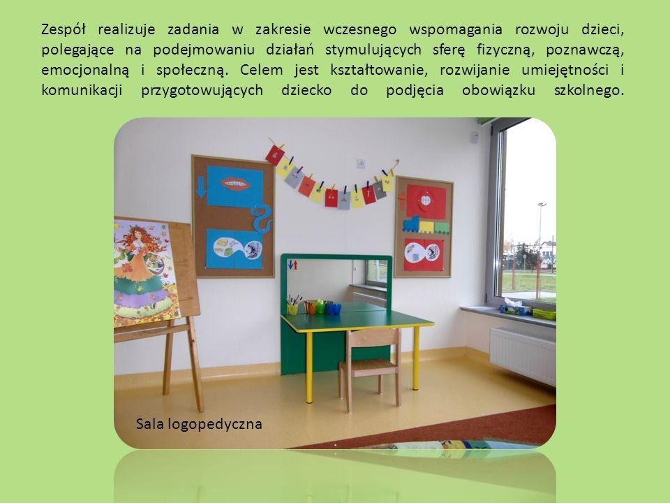 Zespół realizuje zadania w zakresie wczesnego wspomagania rozwoju dzieci, polegające na podejmowaniu działań stymulujących sferę fizyczną, poznawczą, emocjonalną i społeczną.
