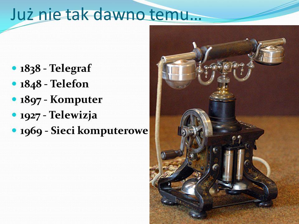 Już nie tak dawno temu… 1838 - Telegraf 1848 - Telefon 1897 - Komputer 1927 - Telewizja 1969 - Sieci komputerowe (Internet)