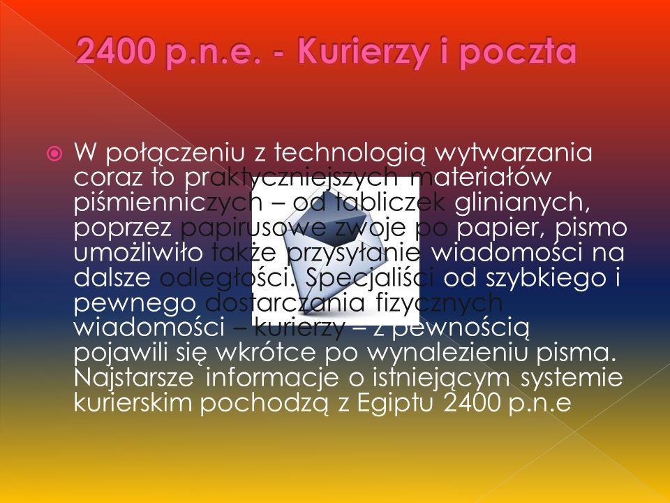  W połączeniu z technologią wytwarzania coraz to praktyczniejszych materiałów piśmienniczych – od tabliczek glinianych, poprzez papirusowe zwoje po papier, pismo umożliwiło także przysyłanie wiadomości na dalsze odległości.