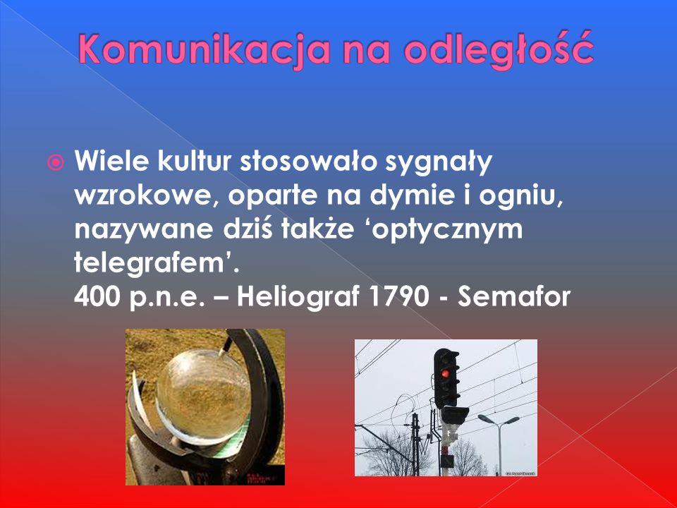  Wiele kultur stosowało sygnały wzrokowe, oparte na dymie i ogniu, nazywane dziś także 'optycznym telegrafem'.