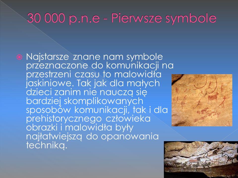  Najstarsze znane nam symbole przeznaczone do komunikacji na przestrzeni czasu to malowidła jaskiniowe. Tak jak dla małych dzieci zanim nie nauczą si