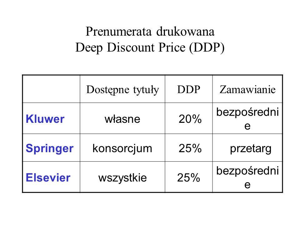Prenumerata drukowana Deep Discount Price (DDP) Dostępne tytułyDDPZamawianie Kluwerwłasne 20% bezpośredni e Springerkonsorcjum 25% przetarg Elsevierws