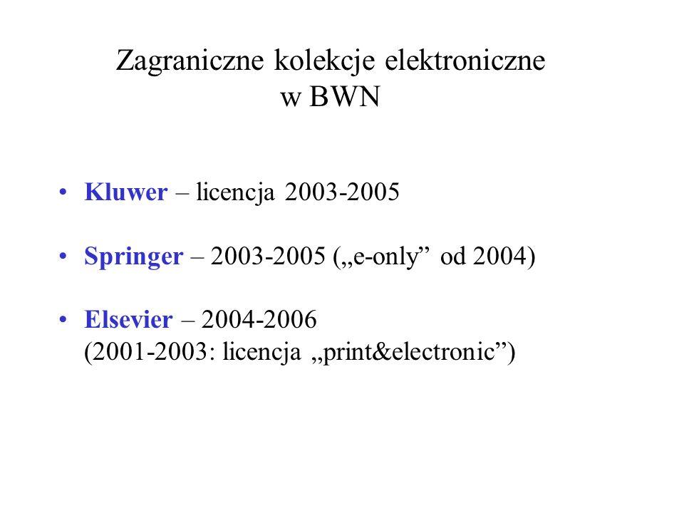 "Kluwer – licencja 2003-2005 Springer – 2003-2005 (""e-only"" od 2004) Elsevier – 2004-2006 (2001-2003: licencja ""print&electronic"") Zagraniczne kolekcje"