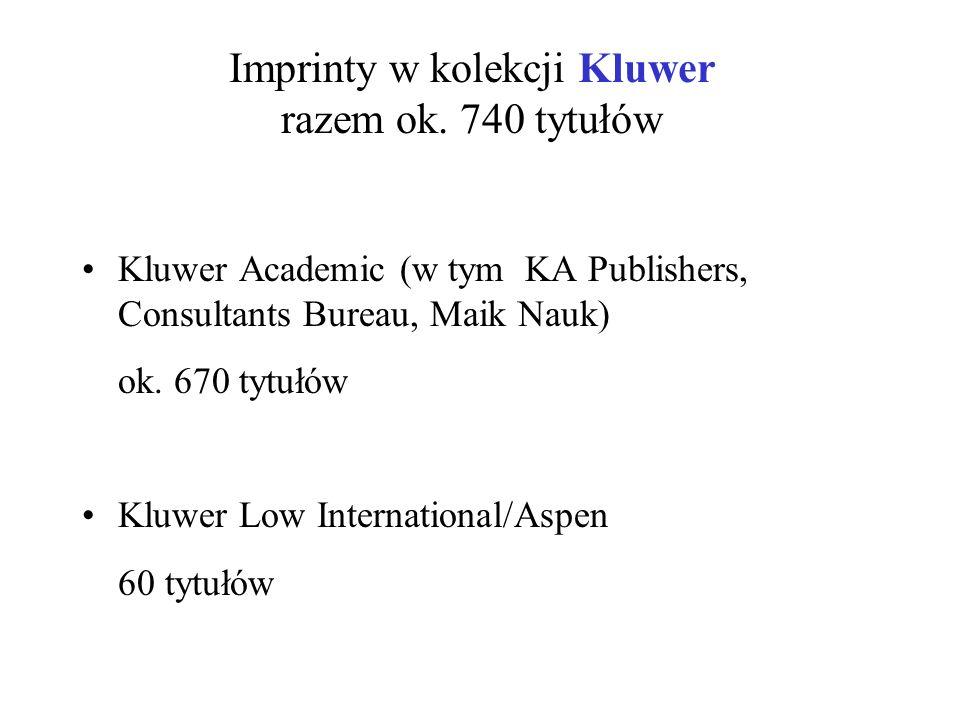 Imprinty w kolekcji Kluwer razem ok. 740 tytułów Kluwer Academic (w tym KA Publishers, Consultants Bureau, Maik Nauk) ok. 670 tytułów Kluwer Low Inter