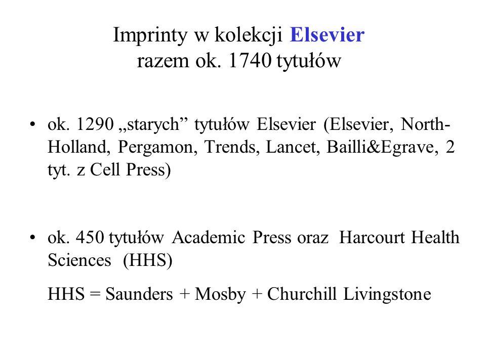 "Imprinty w kolekcji Elsevier razem ok. 1740 tytułów ok. 1290 ""starych"" tytułów Elsevier (Elsevier, North- Holland, Pergamon, Trends, Lancet, Bailli&Eg"