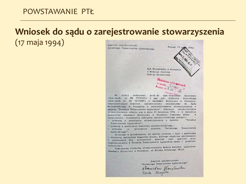Wniosek do sądu o zarejestrowanie stowarzyszenia (17 maja 1994) POWSTAWANIE PTŁ