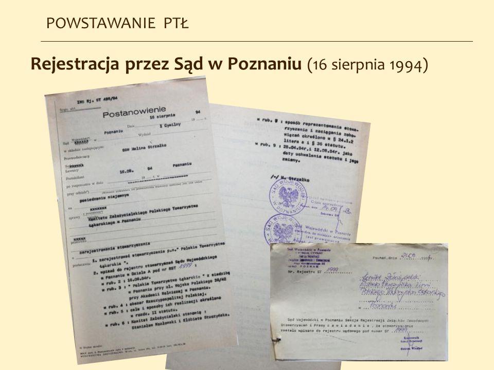 Rejestracja przez Sąd w Poznaniu (16 sierpnia 1994) POWSTAWANIE PTŁ