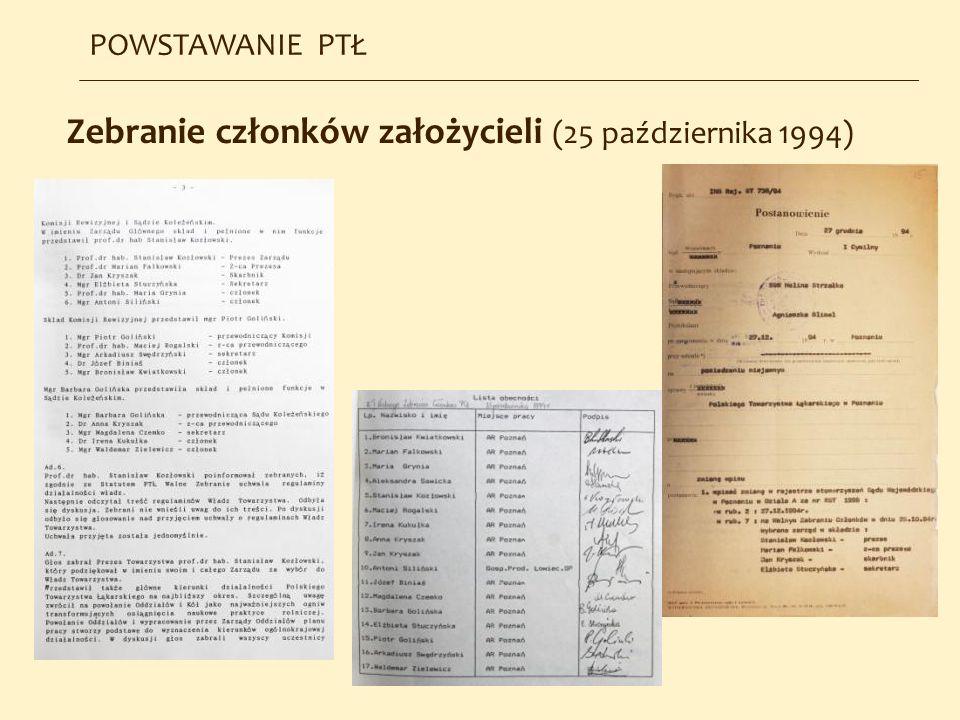 Zebranie członków założycieli (25 października 1994) POWSTAWANIE PTŁ