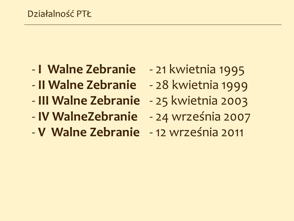 Działalność PTŁ - I Walne Zebranie - 21 kwietnia 1995 - II Walne Zebranie - 28 kwietnia 1999 - III Walne Zebranie - 25 kwietnia 2003 - IV WalneZebrani