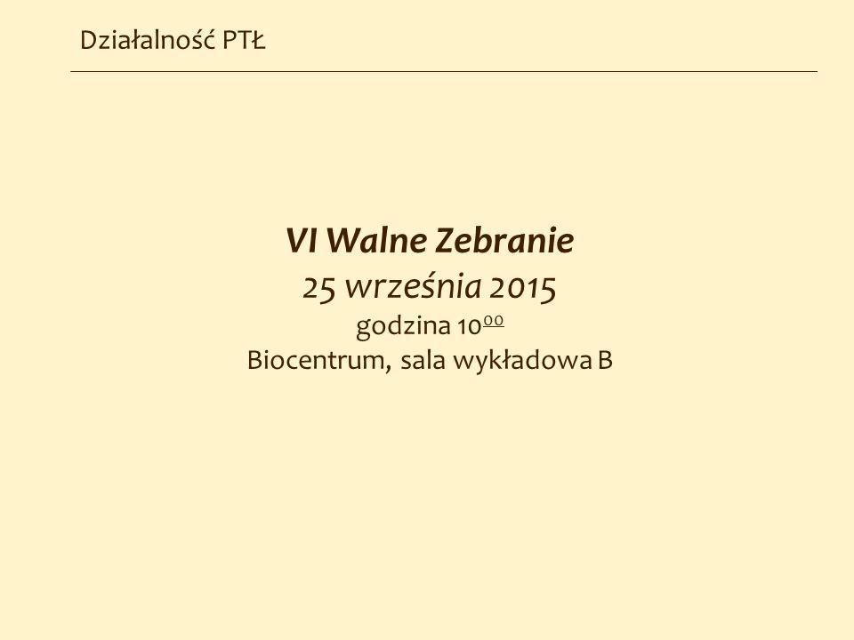 Działalność PTŁ VI Walne Zebranie 25 września 2015 godzina 10 00 Biocentrum, sala wykładowa B