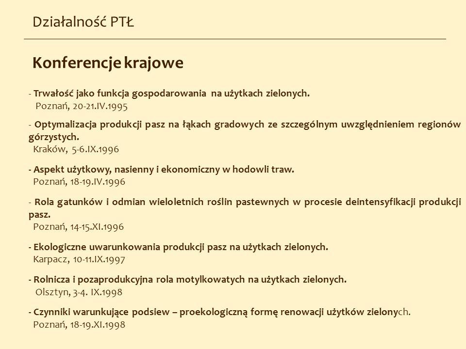 - Trwałość jako funkcja gospodarowania na użytkach zielonych. Poznań, 20-21.IV.1995 - Optymalizacja produkcji pasz na łąkach gradowych ze szczególnym