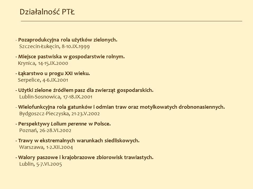 Działalność PTŁ - Pozaprodukcyjna rola użytków zielonych. Szczecin-Łukęcin, 8-10.IX.1999 - Miejsce pastwiska w gospodarstwie rolnym. Krynica, 14-15.IX