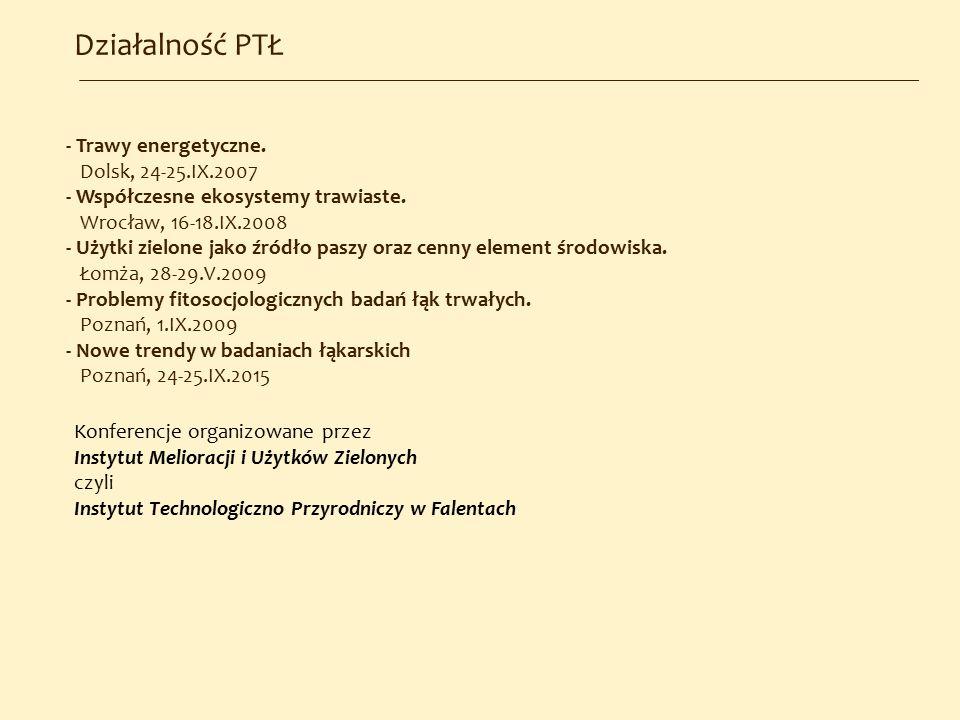 Działalność PTŁ - Trawy energetyczne. Dolsk, 24-25.IX.2007 - Współczesne ekosystemy trawiaste. Wrocław, 16-18.IX.2008 - Użytki zielone jako źródło pas