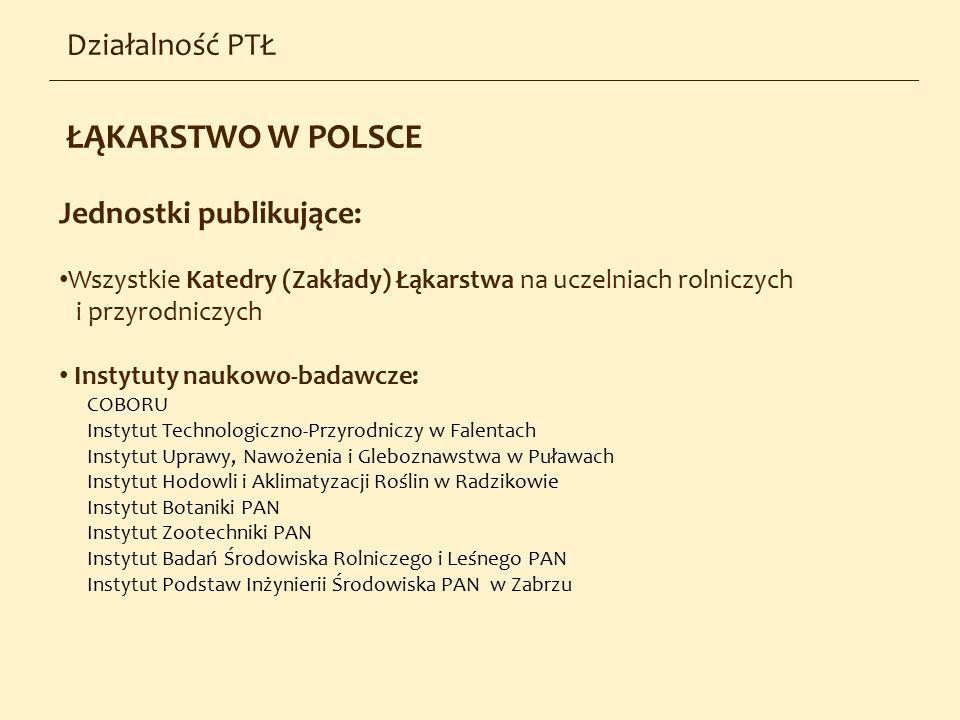 Działalność PTŁ Jednostki publikujące: Wszystkie Katedry (Zakłady) Łąkarstwa na uczelniach rolniczych i przyrodniczych Instytuty naukowo-badawcze: COB