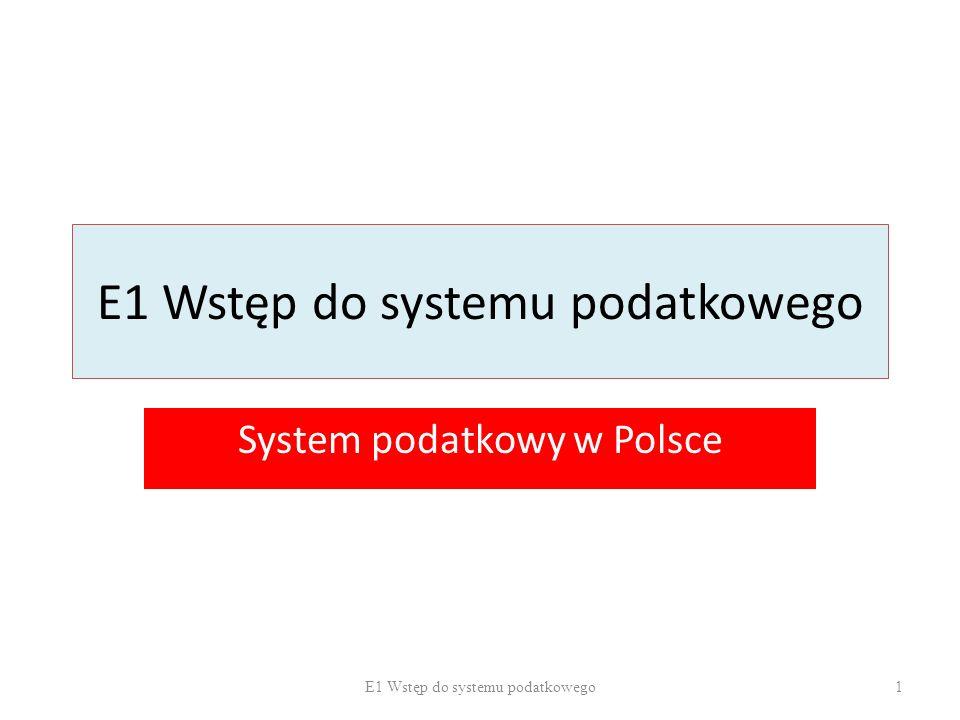 E1 Wstęp do systemu podatkowego System podatkowy w Polsce 1E1 Wstęp do systemu podatkowego