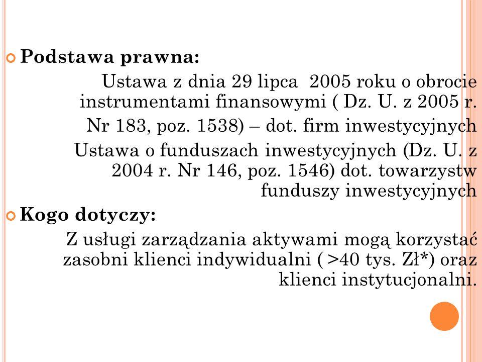 Podstawa prawna: Ustawa z dnia 29 lipca 2005 roku o obrocie instrumentami finansowymi ( Dz. U. z 2005 r. Nr 183, poz. 1538) – dot. firm inwestycyjnych