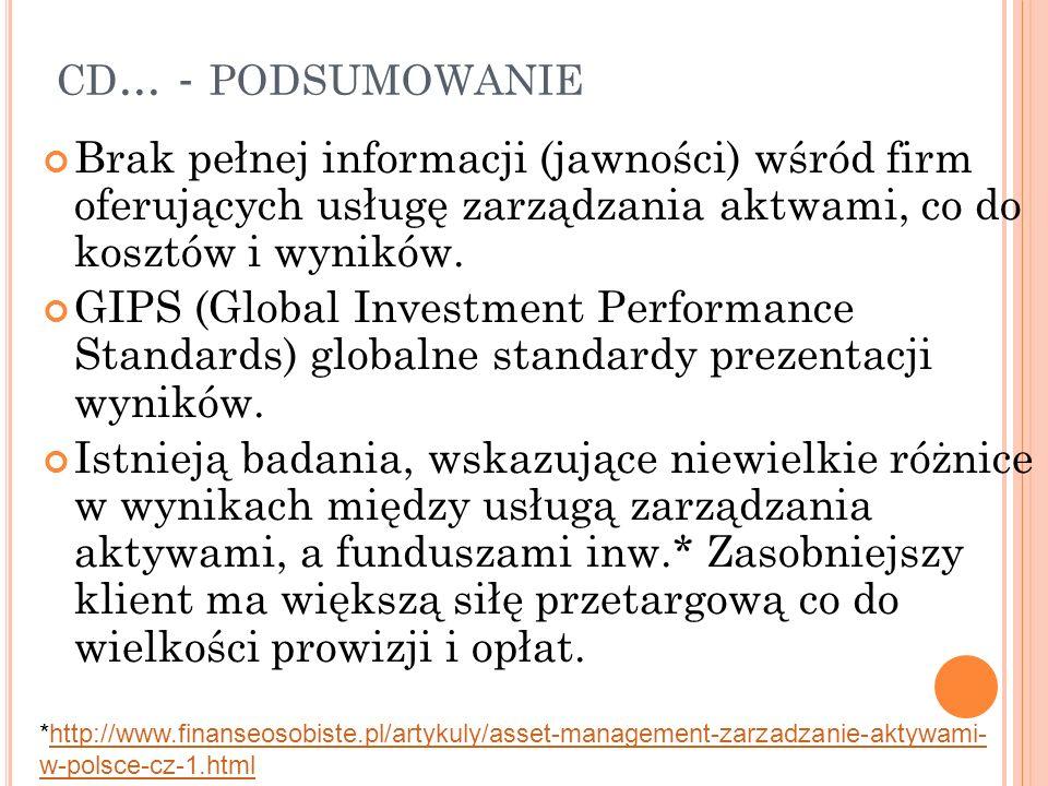 CD... - PODSUMOWANIE Brak pełnej informacji (jawności) wśród firm oferujących usługę zarządzania aktwami, co do kosztów i wyników. GIPS (Global Invest