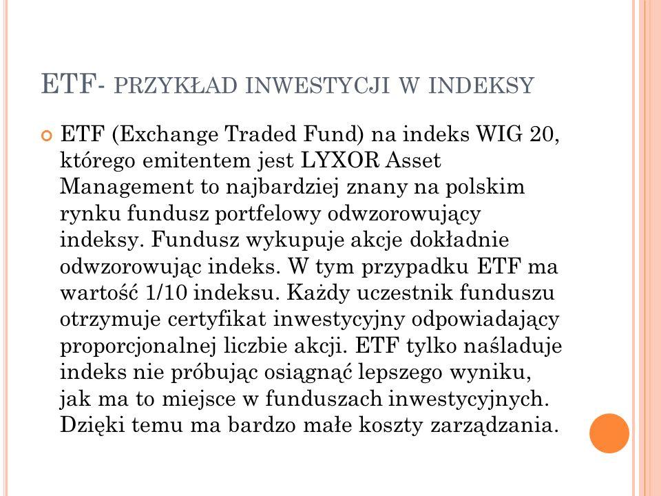 ETF- PRZYKŁAD INWESTYCJI W INDEKSY ETF (Exchange Traded Fund) na indeks WIG 20, którego emitentem jest LYXOR Asset Management to najbardziej znany na