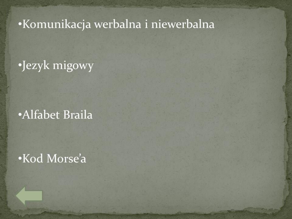 Komunikacja werbalna i niewerbalna Jezyk migowy Alfabet Braila Kod Morse'a
