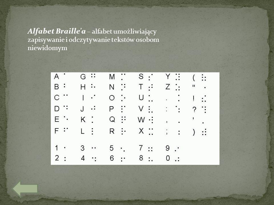 Alfabet Braille'a – alfabet umożliwiający zapisywanie i odczytywanie tekstów osobom niewidomym