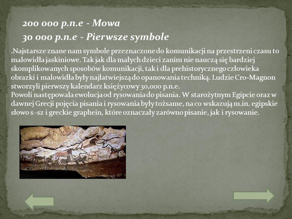 200 000 p.n.e - Mowa.Najstarsze znane nam symbole przeznaczone do komunikacji na przestrzeni czasu to malowidła jaskiniowe. Tak jak dla małych dzieci