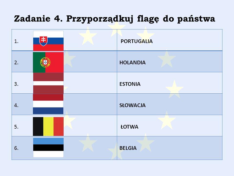Zadanie 4. Przyporządkuj flagę do państwa 1. PORTUGALIA 2.HOLANDIA 3.ESTONIA 4.SŁOWACJA 5.