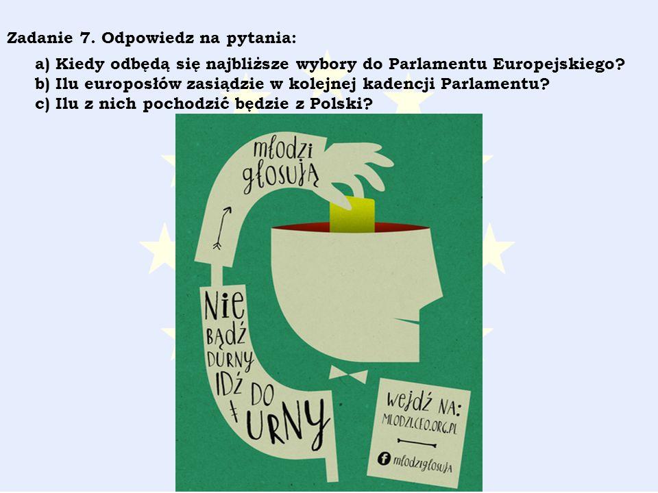 Zadanie 7. Odpowiedz na pytania: a) Kiedy odbędą się najbliższe wybory do Parlamentu Europejskiego.