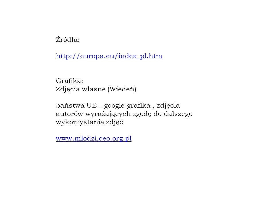 Źródła: http://europa.eu/index_pl.htm Grafika: Zdjęcia własne (Wiedeń) państwa UE - google grafika, zdjęcia autorów wyrażających zgodę do dalszego wykorzystania zdjęć www.mlodzi.ceo.org.pl