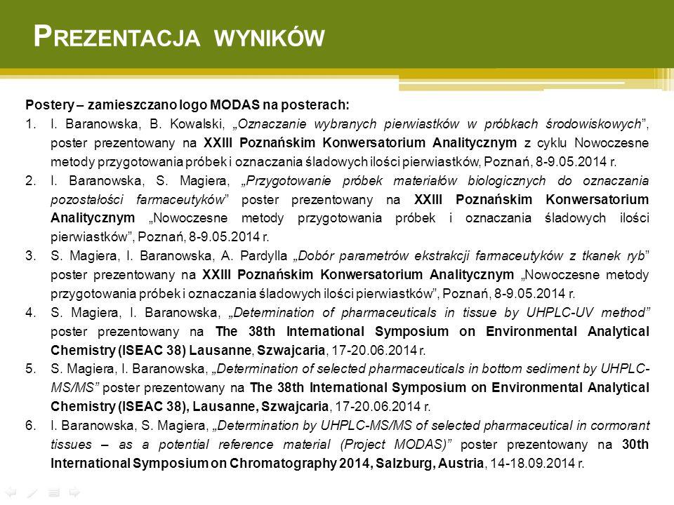 """Postery – zamieszczano logo MODAS na posterach: 1.I. Baranowska, B. Kowalski, """"Oznaczanie wybranych pierwiastków w próbkach środowiskowych"""", poster pr"""