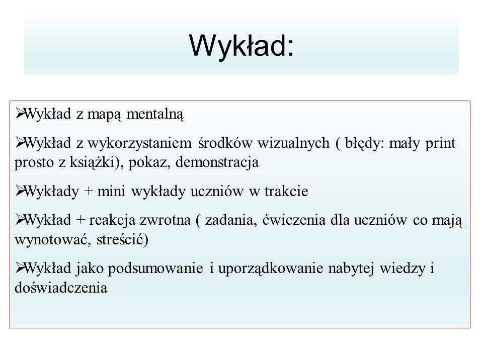 Wykład:  Wykład z mapą mentalną  Wykład z wykorzystaniem środków wizualnych ( błędy: mały print prosto z książki), pokaz, demonstracja  Wykłady + m