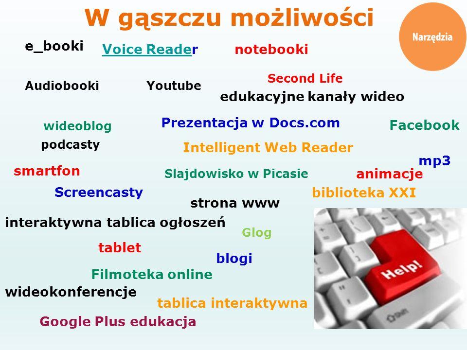 edukacyjne kanały wideo blogi interaktywna tablica ogłoszeń strona www Facebook Google Plus edukacja biblioteka XXI e_booki tablica interaktywna table
