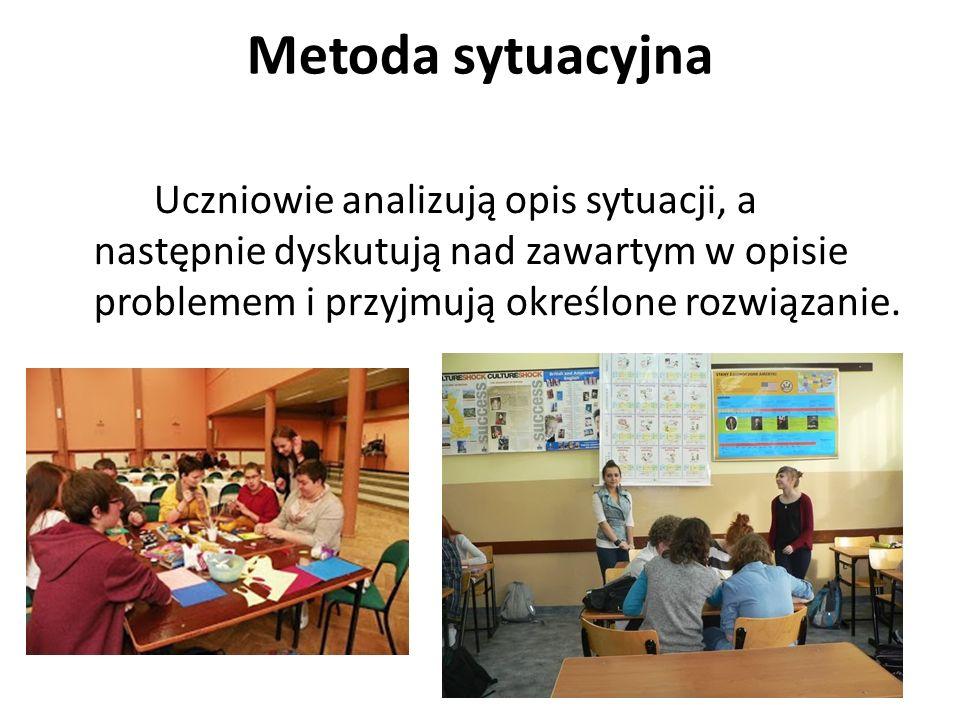 Metoda sytuacyjna Uczniowie analizują opis sytuacji, a następnie dyskutują nad zawartym w opisie problemem i przyjmują określone rozwiązanie.