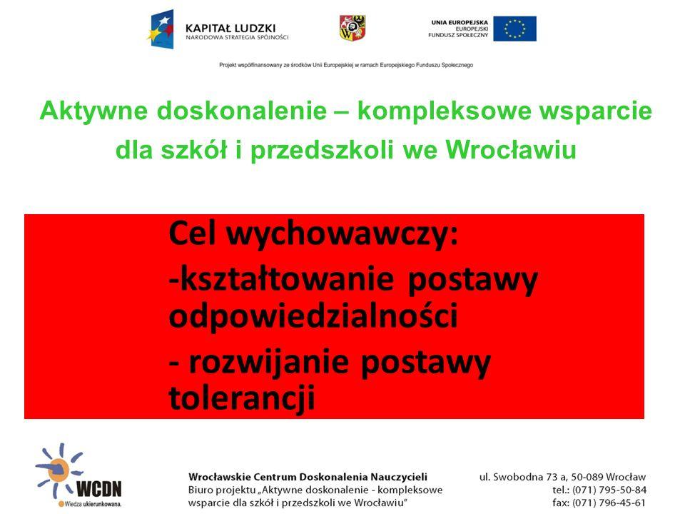 Cel wychowawczy: -kształtowanie postawy odpowiedzialności - rozwijanie postawy tolerancji Aktywne doskonalenie – kompleksowe wsparcie dla szkół i przedszkoli we Wrocławiu