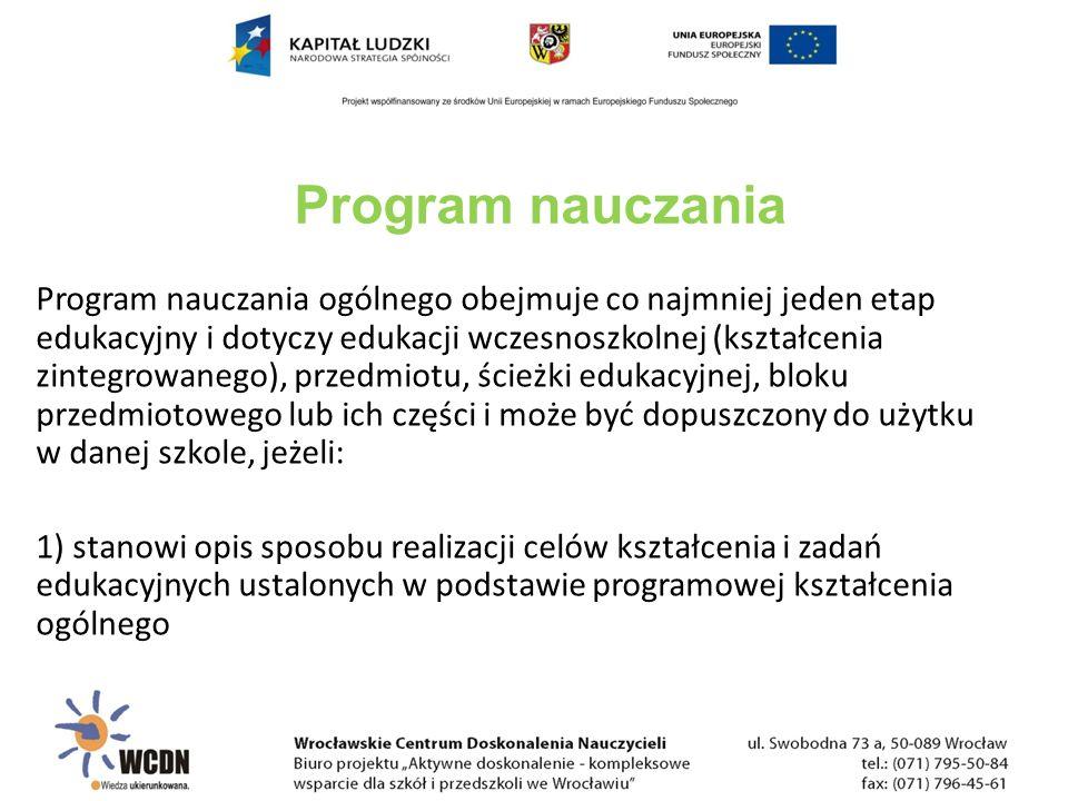 2) program zawiera: a)szczegółowe cele kształcenia i wychowania, b)treści zgodne z treściami nauczania zawartymi w podstawie programowej kształcenia ogólnego, c)sposoby osiągania celów kształcenia i wychowania, z uwzględnieniem możliwości indywidualizacji pracy w zależności od potrzeb i możliwości uczniów oraz warunków, w jakich program będzie realizowany, d)opis założonych osiągnięć ucznia, e)propozycje kryteriów oceny i metod sprawdzania osiągnięć ucznia.