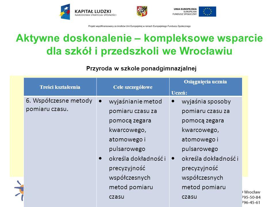 Aktywne doskonalenie – kompleksowe wsparcie dla szkół i przedszkoli we Wrocławiu Przyroda w szkole ponadgimnazjalnej Treści kształceniaCele szczegółow
