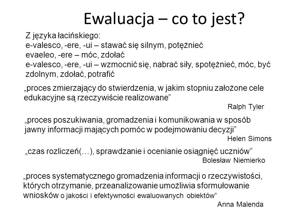 Ewaluacja – co to jest? Z języka łacińskiego: e-valesco, -ere, -ui – stawać się silnym, potężnieć evaeleo, -ere – móc, zdołać e-valesco, -ere, -ui – w