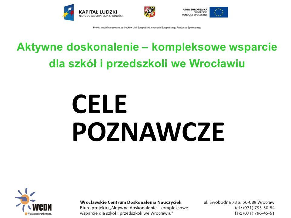 CELE POZNAWCZE Aktywne doskonalenie – kompleksowe wsparcie dla szkół i przedszkoli we Wrocławiu